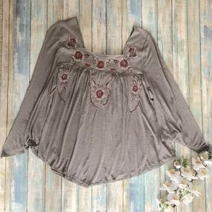 Free People Asymmetrical Embroidered Tan Top Sz M